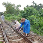 Dùng rọ đá gia cố sạt lở, thông tuyến đường sắt qua Đà Nẵng 2